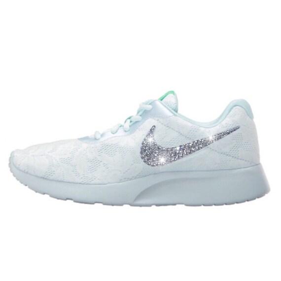 Crystal Bedazzled Fuschia Nike Tanjun Racer Sneaker WOMEN
