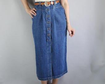 80s Denim High Waisted Skirt, Wiggle Skirt, Jean Skirt, Boho Skirt, Minimal, Western Skirt, Country Skirt, Artist Work, Size Medium