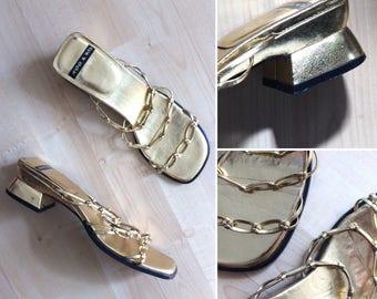 Vintage 1990s gold Koo & Ko chain strap mules / nineties metallic block heel sandals - UK 6 / 6.5
