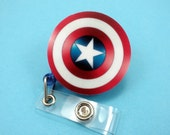 B-GRADE Captain America Nylon Cord Superhero Marvel Badge Reel Retractable ID Holder Nurse CNA Technician Mens Womens Comic-Con