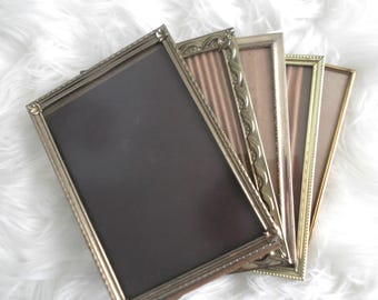 Vintage Brass Frames 5 x 7 Picture Frames Bohemian Decor Mid Century Modern Frames Table Numbers
