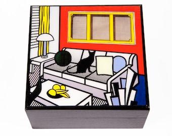 Keepsake Box, Cat Lover Gift, Black Cat Art, Roy Lichtenstein Parody, Wooden, Memory Box, Deborah Julian