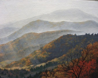Autumn, Fall, Smoky, Mountain, Appalachia, Sunset, Sunrise, Tennessee, North Carolina, Valley, Tree, Original Landscape Oil Painting