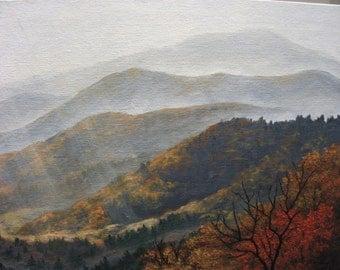 Autumn, Fall, Smoky, Mountain, Appalachia, Sunset, Sunrise, Tennessee, North Carolina, Valley, Tree, Original Landscape Oil Painting