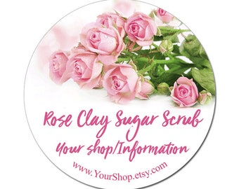 Pink Roses Labels Product Labels For Your Shop Sugar Scrub Bath Beauty Custom Personalized Bridal Favors - 100 GLOSSY Round Stickers