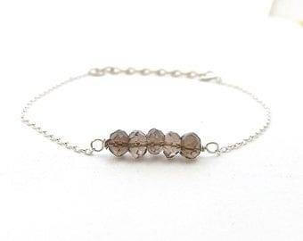 Brown Bracelet, Stone Bracelet, Smokey Quartz Bracelet, Womens Bracelet, Statement Bracelet, Handmade Gifts, Jewelry Gift, Womens Jewelry