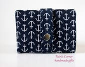 Small and slim wallet - Small white anchors on navy blue - women wallet handmade purse - custom order - ID clear pocket - nautical