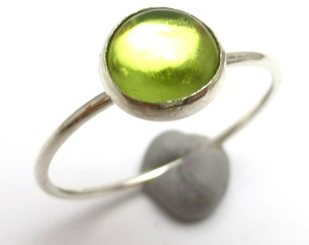 Peridot Ring Sterling Silver One of A Kind handmade Lisajoy Sachs Design size 7 Stacking rings Birthday Acid Green August Birthstone