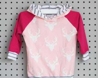 Baby Hoodie - Baby Sweatshirt - Baby Girl Clothes - Baby Shirt - Pink Buck