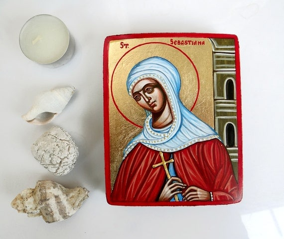 Saint  Sebastiana mini icon, original handpainted keepsake icon 5 by 4 inches