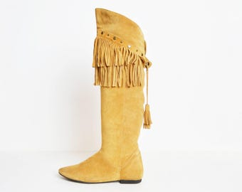 Vintage 70s Tall Fringe Studded Suede BOOTS / 1970s TAN Brown Leather Fringe Knee High Boots 9