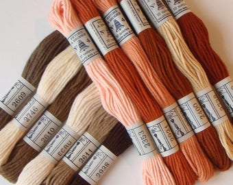 Embroidery Cotton Thread Vintage French 1960s 12 unused skeins in Peach Rust Beige and Brown colors in an original box