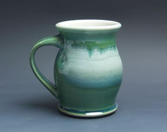 Pottery coffee mug, ceramic mug, stoneware tea cup jade green 16 oz 3927