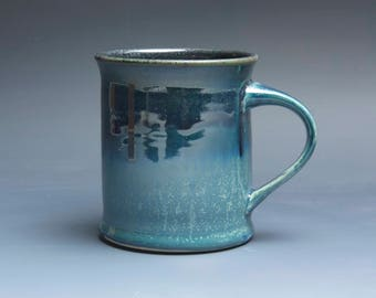 Sale - Pottery coffee mug, ceramic mug, stoneware tea cup navy blue 16 oz 3948