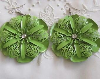 Vintage Large Light Green Enameled Flower-Shaped Pierced Earrings