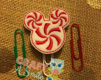 Planner Clip/Accessories - Peppermint Mouse Ears Bookmark For Personal Planners, Calendars, Reading Books, etc