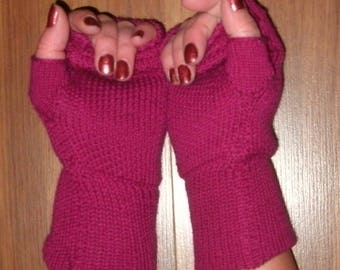 Merino and cashmere knit fingerless gloves, wrist warmers