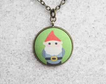 Lawn Gnome Fabric Button Pendant Necklace