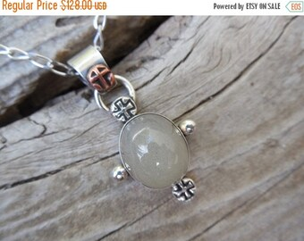 ON SALE Medieval Catseye moonstone necklace in sterling silver