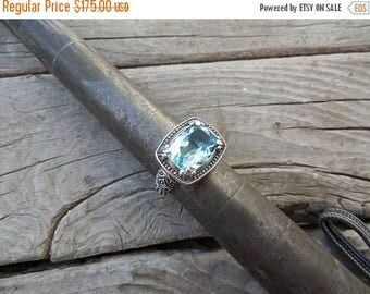 ON SALE Beautiful blue topaz ring handmade in sterling silver