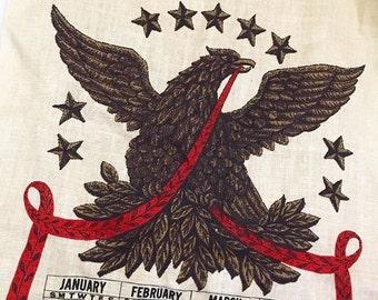 Vintage Calendar Tea Towel, Vintage Eagle Calendar, Vintage Eagle Tea Towel, Vintage Kitchen Towel, 1967 Calendar