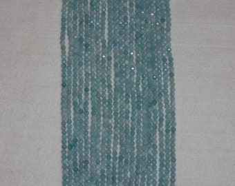 Aquamarine, Aquamarine Bead, Faceted Bead, Semi Precious, Natural Stone, Gemstone Bead, Sparkle Bead, Full Strand, 4 mm, AdrianasBeads
