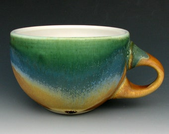 STONEWARE CUP #14 - Ceramic Cup - Coffee Cup - Tea Cup - Cappuccino Cup - Latte Cup - Gold Green Blue Cup - Studio Pottery