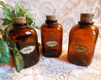 3 Spice Jars Canisters with Original Labels Amber Bottles Vintage at Quilted Nest