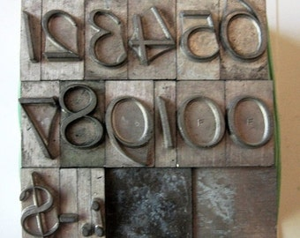 ON SALE Vintage Metal Letterpress Type XL Italic Numbers 25 Piece Complete