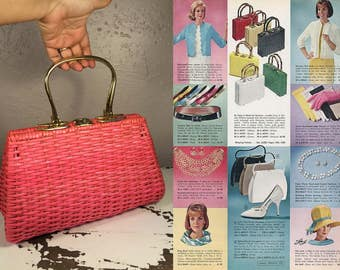 You'll Need Your Shades  - Vintage Late 1950s 1960s Bright Neon Pink Vinyl Straw Large Handbag - Rare