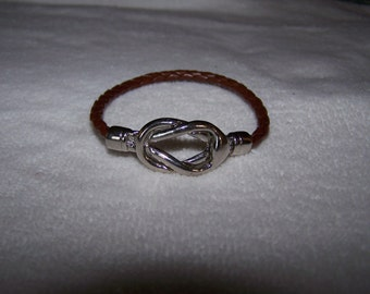 Silver Leather Braid Friendship Infinity  Bracelet