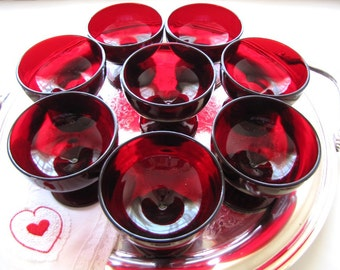 Vintage Anchor Hocking Sherbet Glasses  Pedestal Dessert Glasses Ruby Red from AllieEtCie