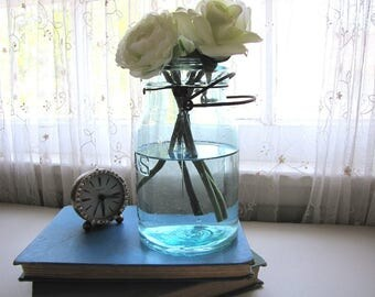 Vintage Blue Mason Jar Hazel Atlas One Quart Wedding Decor 1950's from AllieEtCie