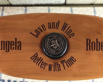 Personalized Wine Caddy, Love and Wine slogan, Cherry wood, Wine Butler- KW034