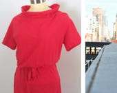RESERVED FOR JO 1950s Red One Piece Romper Rare Van Raalte Stretch Wyns Banlon Loungewear
