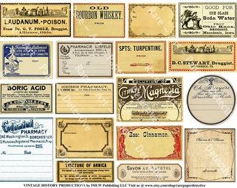 Antique Apothecary Labels - 5 Printed Sheets, 102 Pharmacy Stickers, Druggist Bottle Labels, Vintage Drug Store Labels, Clip Art Paper Pack