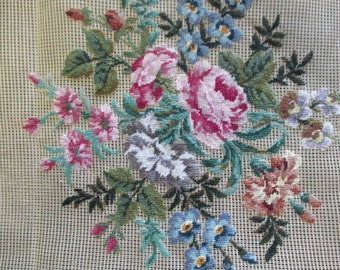 vintage needlepoint petit point canvas preworked  unfinished floral Four Wives P2762  23 inches square no yarn included no instruction