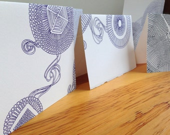 Greeting Cards, Set of 10, Blank card, One of a Kind, Snowflake, Drawing, Screen print, Handmade, Unique Design