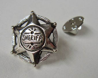 Sheriff Star Pin, Boss, Country & Western Chic, Lone Star, Silver, Handmade, Unique, Gift for him, Gift for her, Edgy, Fathers Day