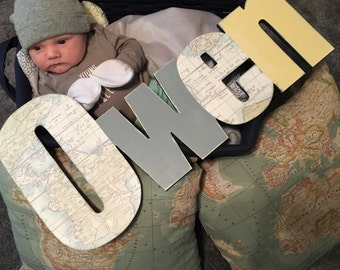 Custom Boys Name Sign - Nursery Wall Letters Name Sign - Wood Wall Letters Boy Vintage Style Map