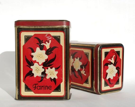 anciennes boites en fer pour la farine et le caf d coration. Black Bedroom Furniture Sets. Home Design Ideas