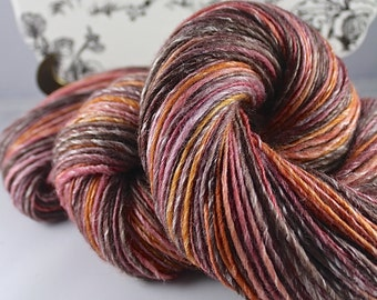 Handspun Yarn Gently Thick and Thin DK Single Polwarth and Bamboo 'Hay Sunrise' Southern Cross Fibre