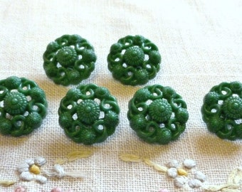 Vintage Buttons, Realistic Green Buttons, Pierced 1950's Buttons, Mint Conditon, 6 in lot, Emerald Green Plastic Buttons with self Shanks