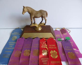 Vintage  Horse Trophy w/ ribbons Equestrian horse show display