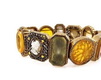 Vintage Glass Intaglio and Cameo Neider Stretch Bracelet