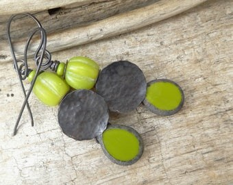 Summer Rustic Copper Lime Chartreuse Drop Earrings