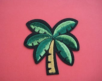 Iron-on Embroidered Patch Palm Coconut Tree 3 inch