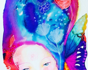 Fairy with butterfly wings- Spring watercolor, watercolor fairy painting, butterfly watercolor, nursery decor, colorful, whimsical art