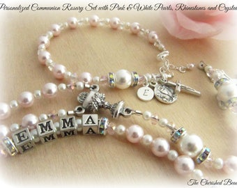 Personalized Communion Rosary Set with Light Pink and White Swarovski Pearls, Rhinestones and Crystals - Heirloom Rosary - Rosary Bracelet