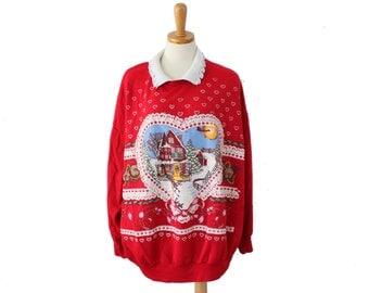 Vintage Ugly Christmas Sweater // Nutcracker Red Novelty Sweatshirt Women Men 3X // busy cabin scene